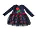 Φορεματάκι για κορίτσι σε χρώμα μπλε, με τριαντάφυλλα καιτούλι
